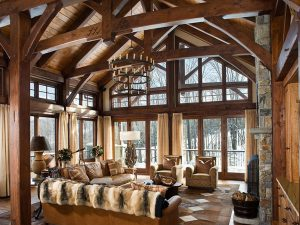 Interior shot of an all wood interior living room.