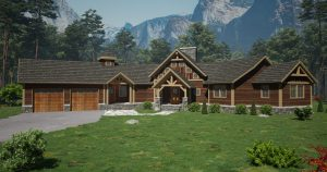 exterior rendering of timber frame house