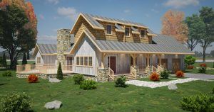 rendering of timber frame house