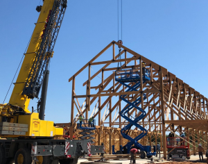Large crane installing timber beams on commercial timber frame