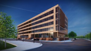 exterior rendering of commercial timber frame building