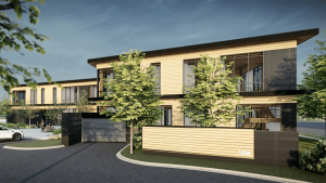 Timber Frame HQ Office building rendering