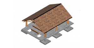 Isometric view of devil's tower timber frame pavilion