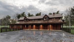 Exterior Rendering of Timber Frame Barn