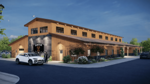 Phantom Distillery Timber Frame Exterior Rendering