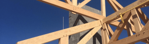 Timber frame structure under construction