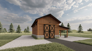 Side view rendering of timber frame barn