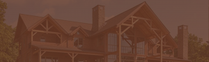 photo of timber frame house with brown overlay