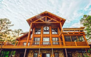 Timber Frame House in the woods