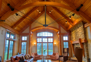 Timber Frame ceiling with stack stoned fireplace
