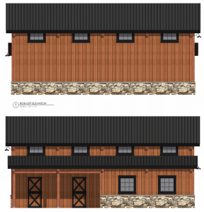 graphic image of timber frame barn elevation