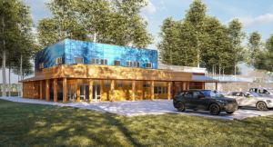 Commercial timber frame building exterior rendering